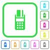POS terminal vivid colored flat icons - POS terminal vivid colored flat icons in curved borders on white background