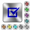 Checked box rounded square steel buttons - Checked box engraved icons on rounded square glossy steel buttons