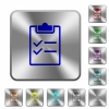 Checklist rounded square steel buttons - Checklist engraved icons on rounded square glossy steel buttons
