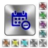 Remove event from calendar rounded square steel buttons - Remove event from calendar engraved icons on rounded square glossy steel buttons