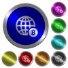 Online Bitcoin payment luminous coin-like round color buttons - Online Bitcoin payment icons on round luminous coin-like color steel buttons