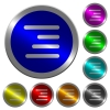 Text align right luminous coin-like round color buttons - Text align right icons on round luminous coin-like color steel buttons