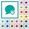 Blog comment time flat color icons with quadrant frames - Blog comment time flat color icons with quadrant frames on white background