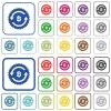 Bitcoin pay back guarantee sticker outlined flat color icons - Bitcoin pay back guarantee sticker color flat icons in rounded square frames. Thin and thick versions included.