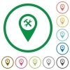 Workshop service GPS map location flat icons with outlines - Workshop service GPS map location flat color icons in round outlines on white background