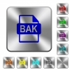 BAK file format rounded square steel buttons - BAK file format engraved icons on rounded square glossy steel buttons