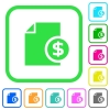 Dollar financial report vivid colored flat icons - Dollar financial report vivid colored flat icons in curved borders on white background