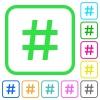 Hash tag vivid colored flat icons - Hash tag vivid colored flat icons in curved borders on white background