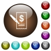 Signing Dollar cheque color glass buttons - Signing Dollar cheque white icons on round color glass buttons