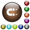 Horseshoe magnet color glass buttons - Horseshoe magnet white icons on round color glass buttons