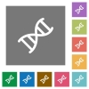 DNA molecule square flat icons - DNA molecule flat icons on simple color square backgrounds