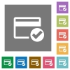 Credit card verified square flat icons - Credit card verified flat icons on simple color square backgrounds