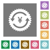 Yen pay back guarantee sticker square flat icons - Yen pay back guarantee sticker flat icons on simple color square backgrounds
