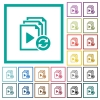 Restart playlist flat color icons with quadrant frames - Restart playlist flat color icons with quadrant frames on white background