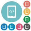Mobile scripting flat round icons - Mobile scripting flat white icons on round color backgrounds