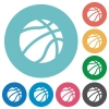 Basketball flat round icons - Basketball flat white icons on round color backgrounds