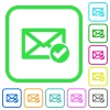 Mail read vivid colored flat icons - Mail read vivid colored flat icons in curved borders on white background