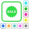Sale badge vivid colored flat icons - Sale badge vivid colored flat icons in curved borders on white background