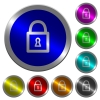 Locked padlock with keyhole luminous coin-like round color buttons - Locked padlock with keyhole icons on round luminous coin-like color steel buttons