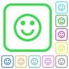 Smiling vivid colored flat icons - Smiling vivid colored flat icons in curved borders on white background