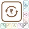 Rupee pay back simple icons - Rupee pay back simple icons in color rounded square frames on white background
