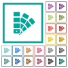 Color swatch flat color icons with quadrant frames - Color swatch flat color icons with quadrant frames on white background