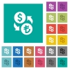Dollar Lira money exchange square flat multi colored icons - Dollar Lira money exchange multi colored flat icons on plain square backgrounds. Included white and darker icon variations for hover or active effects.