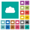Cloud square flat multi colored icons - Cloud multi colored flat icons on plain square backgrounds. Included white and darker icon variations for hover or active effects.