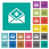 Open mail with malware symbol square flat multi colored icons - Open mail with malware symbol multi colored flat icons on plain square backgrounds. Included white and darker icon variations for hover or active effects.
