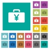 Yen bag square flat multi colored icons - Yen bag multi colored flat icons on plain square backgrounds. Included white and darker icon variations for hover or active effects.
