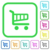 Single cart vivid colored flat icons in curved borders on white background
