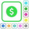 Dollar sticker vivid colored flat icons - Dollar sticker vivid colored flat icons in curved borders on white background