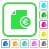 Euro financial report vivid colored flat icons - Euro financial report vivid colored flat icons in curved borders on white background