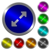 Resize full luminous coin-like round color buttons - Resize full icons on round luminous coin-like color steel buttons