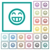 Laughing emoticon flat color icons with quadrant frames on white background - Laughing emoticon flat color icons with quadrant frames