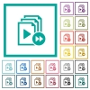 Playlist fast forward flat color icons with quadrant frames - Playlist fast forward flat color icons with quadrant frames on white background
