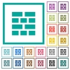 Brick wall flat color icons with quadrant frames - Brick wall flat color icons with quadrant frames on white background