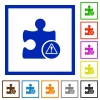 Plugin warning flat framed icons - Plugin warning flat color icons in square frames on white background