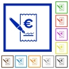 Signing Euro cheque flat framed icons - Signing Euro cheque flat color icons in square frames on white background