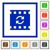 Restart movie flat framed icons - Restart movie flat color icons in square frames on white background