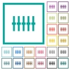 Graphical equalizer flat color icons with quadrant frames - Graphical equalizer flat color icons with quadrant frames on white background