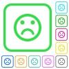 Sad emoticon vivid colored flat icons - Sad emoticon vivid colored flat icons in curved borders on white background