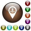 Sea port GPS map location color glass buttons - Sea port GPS map location white icons on round color glass buttons