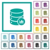 Database statistics flat color icons with quadrant frames - Database statistics flat color icons with quadrant frames on white background