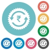 Rupee pay back guarantee sticker flat round icons - Rupee pay back guarantee sticker flat white icons on round color backgrounds