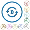 Bitcoin pay back icons with shadows and outlines - Bitcoin pay back flat color vector icons with shadows in round outlines on white background