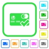 Accept credit card vivid colored flat icons - Accept credit card vivid colored flat icons in curved borders on white background