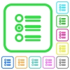 Radio group vivid colored flat icons - Radio group vivid colored flat icons in curved borders on white background