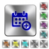 Add to calendar rounded square steel buttons - Add to calendar engraved icons on rounded square glossy steel buttons