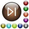 Media next color glass buttons - Media next white icons on round color glass buttons